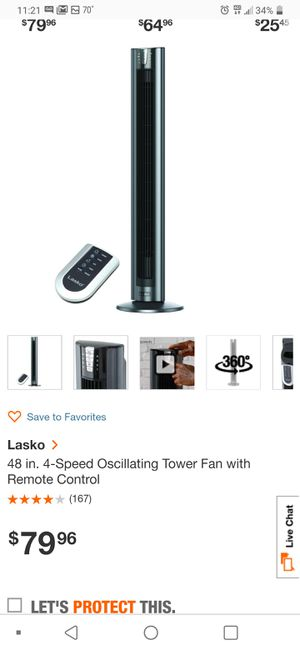 Lasko 48in Tower Fan With Remote for Sale in College Park, GA