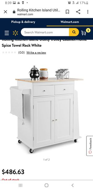 Costway Rolling Kitchen Island Utility Trolley Cabinet Home Spice Towel Rack for Sale in Long Beach, CA
