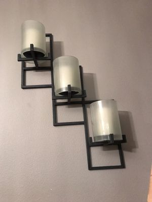 Set of Two Large Candle Holders Metal & Glass (Sconces) for Sale in Wood Village, OR