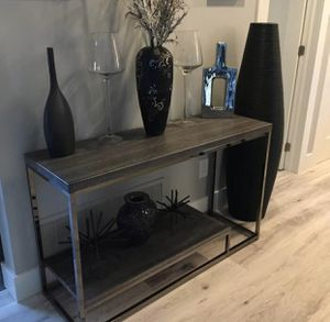 New washed wood console table with chrome for Sale in Boca Raton, FL