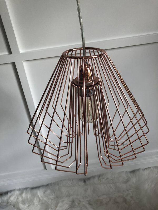 Hanging light, lamp, rose gold
