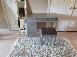 Vanity with stool mirror and rug for Sale in Frederick, MD