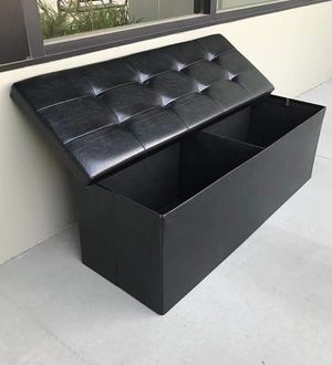 New in box 43x15x15 inches foldable storage ottoman toys clothes storage seating black brown or grey for Sale in La Mirada, CA