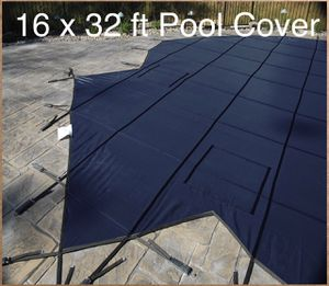 New GLI ProMesh 16 FT X 32 FT Rectangular Safety Cover System with 4 FT X 8 FT Right Step 2 FT Offset, Blue for Sale in Dallas, TX