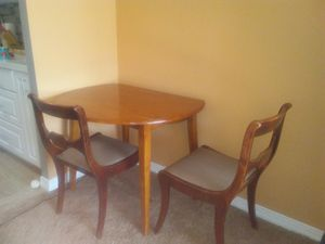 Designer's Breakfast Table w/folding sides + 2 padded chairs for Sale in Queens, NY