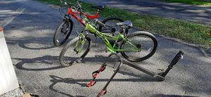 Two Mountain Bikes and a Car Rack for Sale in Ellwood City, PA
