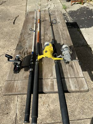 Various types of fsalt water fishing rods, reels and lines combos. $50 each. for Sale in Philadelphia, PA