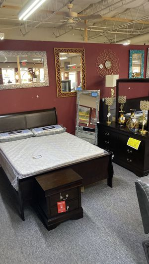 Queen Cappuccino 4Pc Bedroom Set Complete FINANCE NO CREDIT NEEDED 7 CF for Sale in Euless, TX
