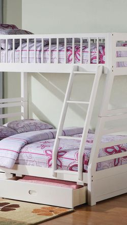 Twin/Full Bunk Bed  AND  Drawers - 37040 - White 1WCZP for Sale in Phillips Ranch, CA
