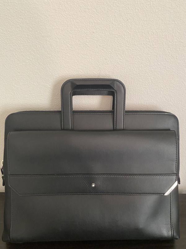Montblanc Black Leather Slim Briefcase