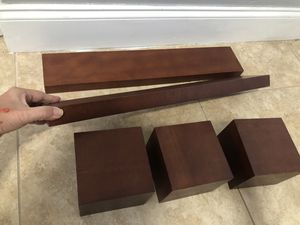 Set of 5 floating wall shelves-brown wood for Sale in Miami, FL