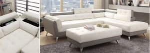 🛋🏬🏠💝🚚 On sale today! Two tone White & Grey leather sectional sofa couch 🛋 for Sale in Altamonte Springs, FL