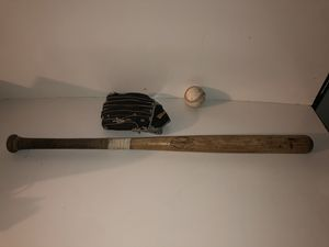 "Vintage Adirondack Wooden Baseball Bat / Kids Wilson 10"" Glove / Ball for Sale in Fresno, CA"