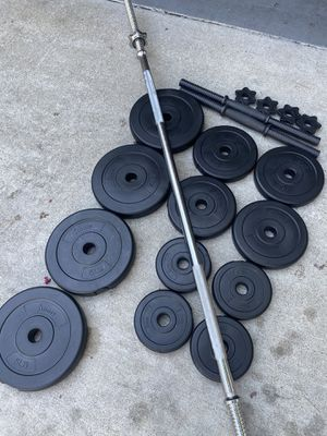 Dumbbells straight bar and weight for Sale in Santa Ana, CA