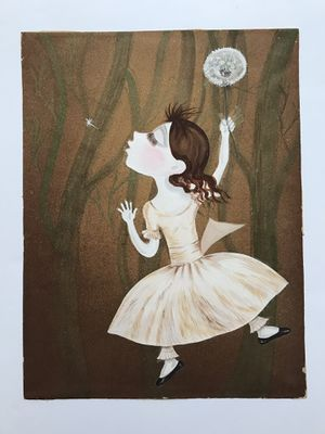 Vintage   Acrylic Painting Of Little Girl With Dandelion for Sale in Seattle, WA