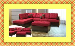 Red sectional free ottoman and delivery for Sale in Crofton, MD