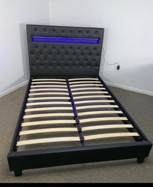 Brand new leather tufted led lights bed frame no mattress for Sale in North Miami, FL