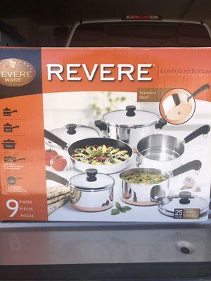 Revere Ware Copper Clad 9 piece cookware set for Sale in Las Vegas, NV