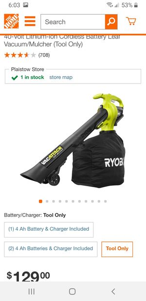 Ryobi leaf vacuum and mulcher for Sale in Plaistow, NH