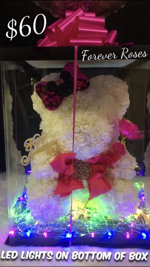 15in. Rose Bears with LED Lights On Bottom Of Box. These Bears Look So Beautiful and Make Awesome Gifts for Sale in South Gate, CA