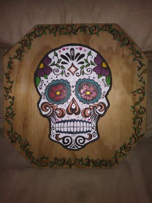"""""""Day of the Dead"""" Handmade Wood Plaque for Sale in Roseville, MI"""