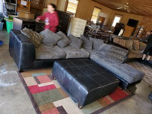 2 piece sectional couch with ottoman for Sale in Julian, NC