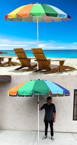 (NEW) $35 Metal Pole 8' FT Beach Umbrella 16-Rib Tilt Patio Market Sunshades, Rainbow Color for Sale in El Monte, CA