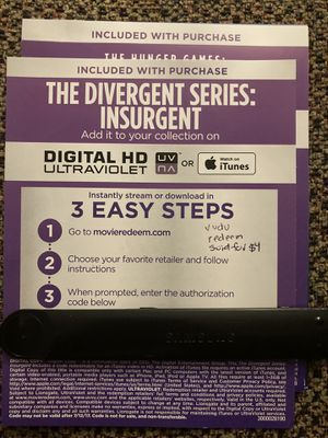 The divergent series insurgent 4K digital code for Sale in South Gate, CA