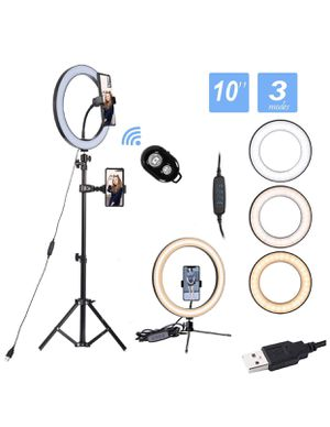 "10"" Led Ring Light with Stand and Phone Holder for Sale in Moreno Valley, CA"