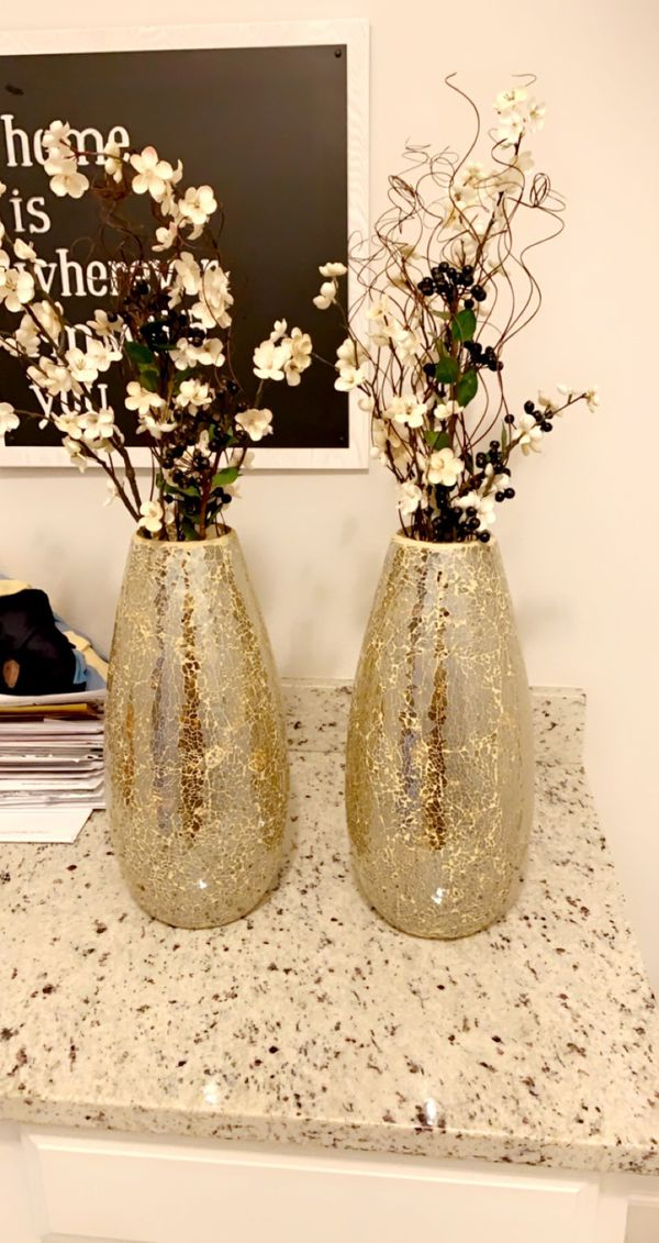 Beautiful gold mosaic vases pier one with flowers