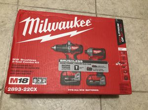 Milwaukee M18 18-Volt Lithium-Ion Brushless Cordless Hammer Drill/Impact Combo Kit with 2 Batteries ( 2.0AH and 4.0AH ), Charger.( No Box ) for Sale in Phoenix, AZ
