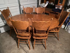 Full Dining Set Table and 6 Chairs OAK for Sale in Turlock, CA