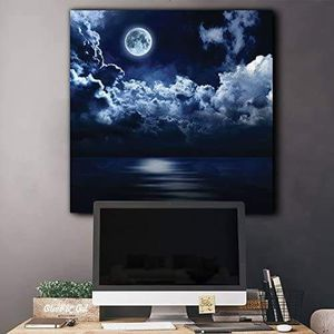 ((FREE SHIPPING)) moon illuminating the ocean from above the clouds - canvas art home decor Painting like print for Sale in San Francisco, CA