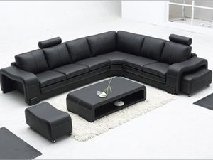 Black Leather Sectional Sofa set for Sale in Erie, PA