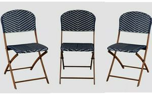 NEW - (3) THREE [2 IN-BOX & 1 OUT-OF-BOX] - BLUE/WHITE/BROWN - OUTDOOR FRENCH CAFE PATIO BISTRO FOLDING SYNTHETIC WICKER CHAIRS for Sale in Huntington Beach, CA