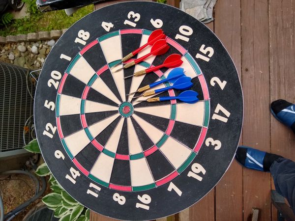 """2 in 1 Dart Game with 6 Brass Darts 18""""x 1"""" New"""