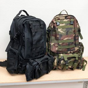 New in box $25 each 55L Outdoor Sport Bag Camping Hiking School Backpack (Black or Camouflage) for Sale in Montebello, CA