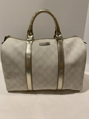 Gucci Joy Boston Bag in ivory pewter coated canvas tote satchel for Sale in San Diego, CA