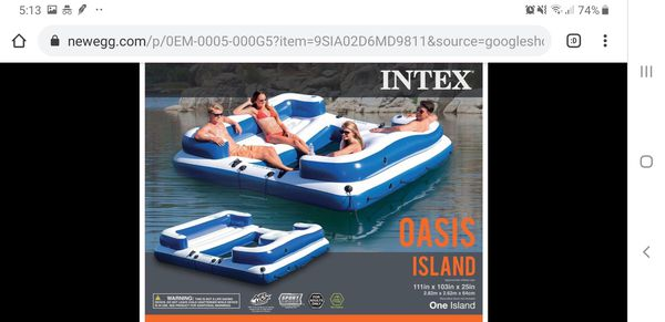 Intex Oasis Island Inflatable 5-Seater Lake/River Floating Lounge Raft | 58293EP Brand new in box