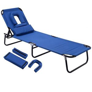 Pool Yard Blue Metal Steel Frame Patio Folding Beach Chair Outdoor Chaise Lounge Chair Bed Camping Recliner for Sale in City of Industry, CA