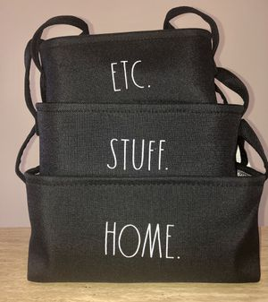 RAE DUNN Storage Organizer Baskets Set of 3 - Black Fabric Container Flat Bins for Sale in Miami, FL