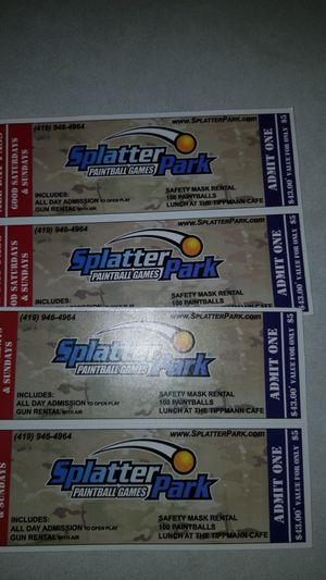 Splatter park tickets. All day admission come with lunch. for Sale in Columbus, OH