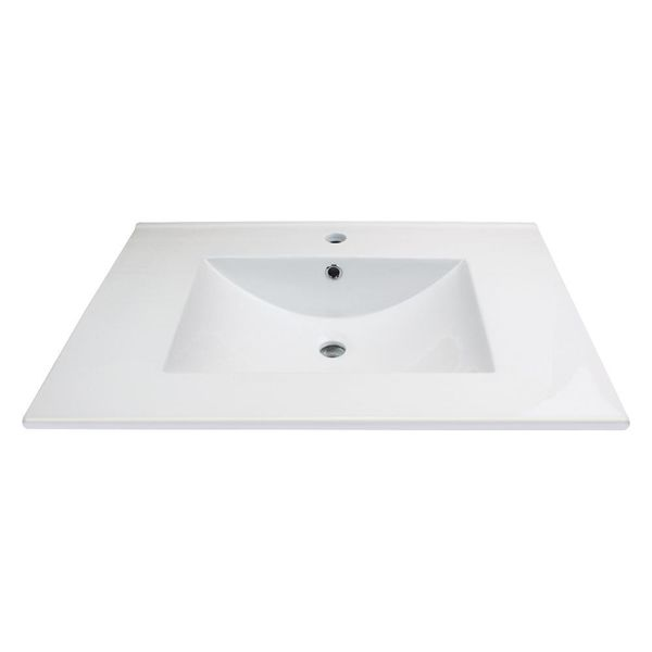 Juliette 25 in. W x 22 in. D Vitreous China Vanity Top in White with Single Faucet Hole