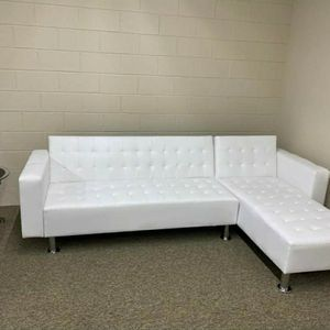 White Leather Sectional/Sofa Bed for Sale in Atlanta, GA
