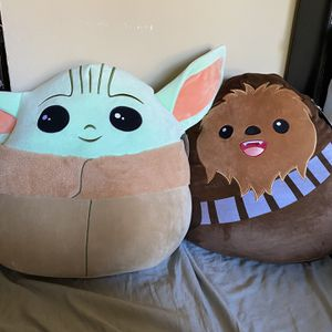 """20"""" Baby Yoda/Chewbacca Squishmallows Pillow for Sale in Buena Park, CA"""