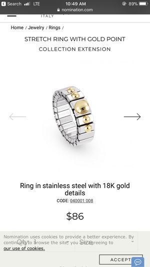 Blue stone Nomination stainless steel ring for Sale in Los Angeles, CA