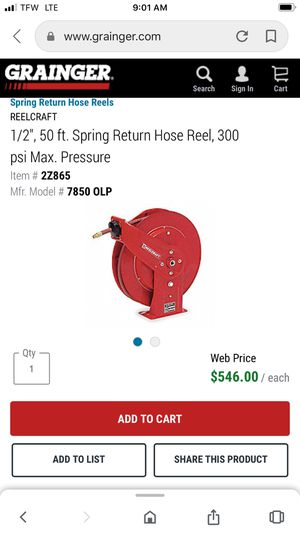 Reelcraft commercial 50ft hose reel more than 1 avail $350obo for Sale in Saint Charles, MO