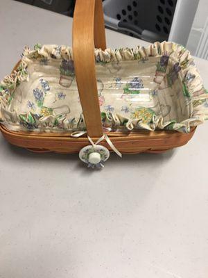 Mother's Day longaberger basket with plastic liner and a bonnet medallion for Sale in Bonita Springs, FL