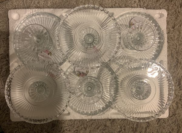 Set Of 6 Cake Stand glass 8""