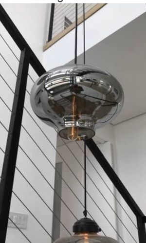 Glass pendent lighting chandelier fixture contemporary style new in box adjustable height regular Socket for any light bulb serious buyers only pls for Sale in Los Angeles, CA